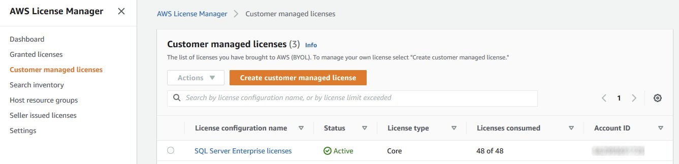 On Customer managed licenses, the SQL Server Enterprise licenses show a status of Active, a license type of Core, and 48 of 48 licenses consumed.