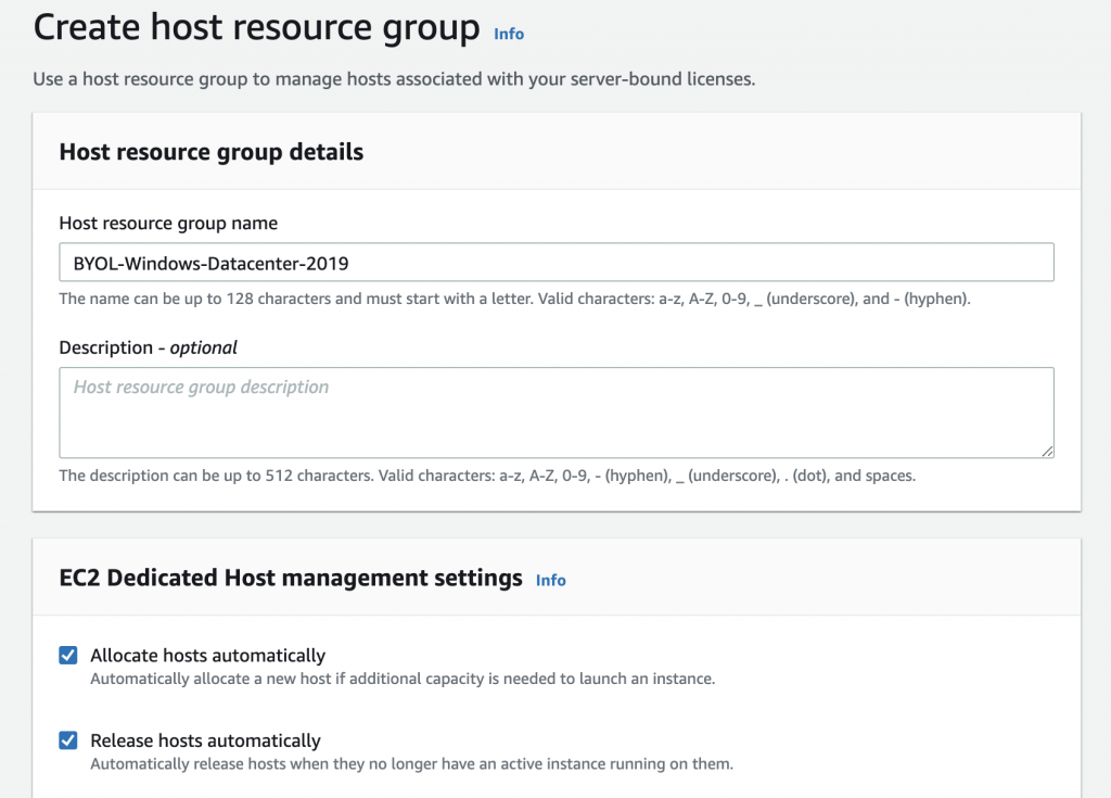 Create a host resource group includes fields for the name and description of host resource group. There are also checkboxes (both selected in this example) to allocate hosts automatically and release hosts automatically.