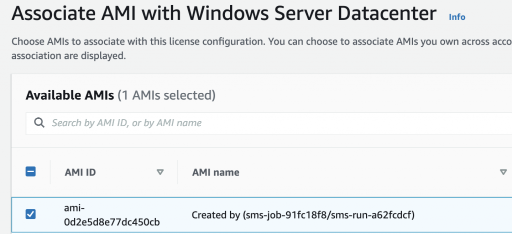 Associate an AMI with Windows Server Datacenter lists one available AMI.