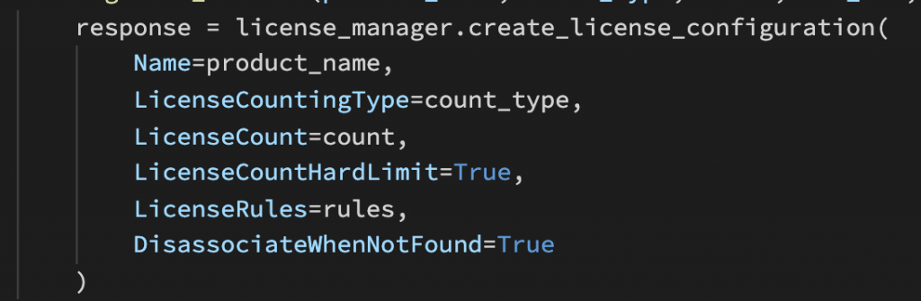 Sample code illustrating how the create_license_configuration API is called.