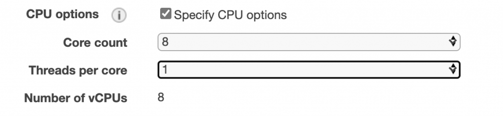 CPU options in the EC2 Launch Wizard include a Specify CPU options checkbox (selected in this example) and fields for core count, threads per core, and number of VCPUs.