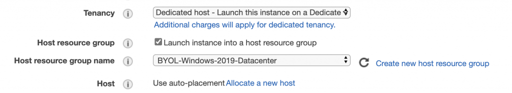 In Tenancy, Dedicated host - Launch this instance on a Dedicated Host is displayed. The Launch instance into a host resource group is selected. For Host resource group name, BYOL-Windows-2019-Datacenter is displayed.
