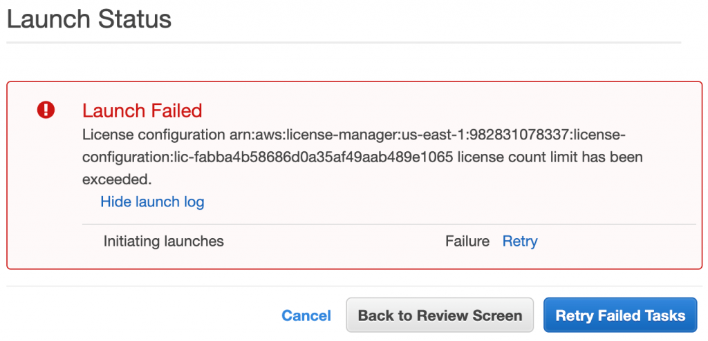 A Launch Failed error message is displayed in the EC2 Launch Wizard due to a violation of an enforced license limit.