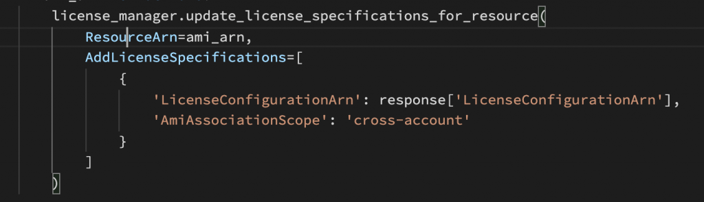 """A screenshot of sample code demonstrating the License Manager """"update_licenmse_specifications_for_resource"""" API call."""