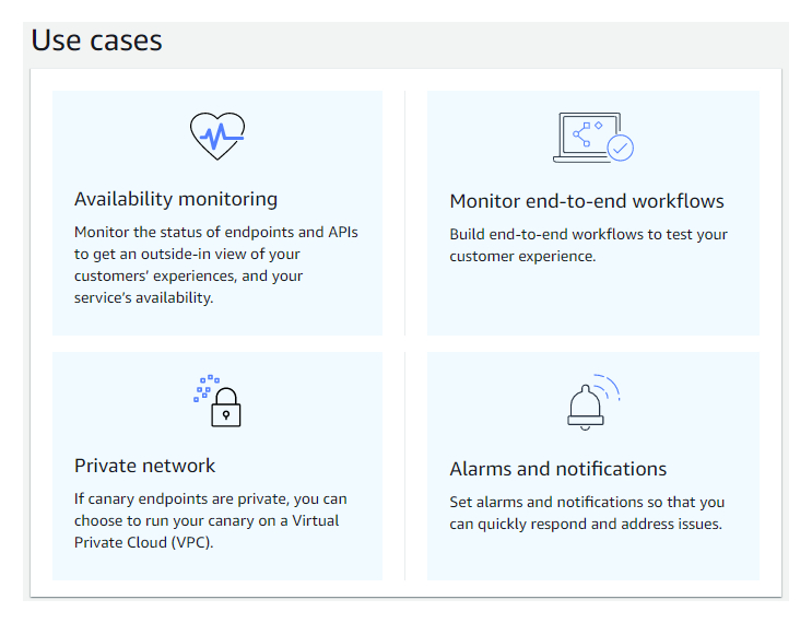 Use cases: availability monitoring - Monitor the status of endpoints and APIs to get an outside-in view of your customers' experiences, and your service's availability. Monitor end-to-end workflows - Build end-to-end workflows to test your customer experience. Private network - If canary endpoints are private, you can choose to run your canary on a Virtual Private Cloud (VPC). Alarms and notifications - Set alarms and notifications so that you can quickly respond and address issues.