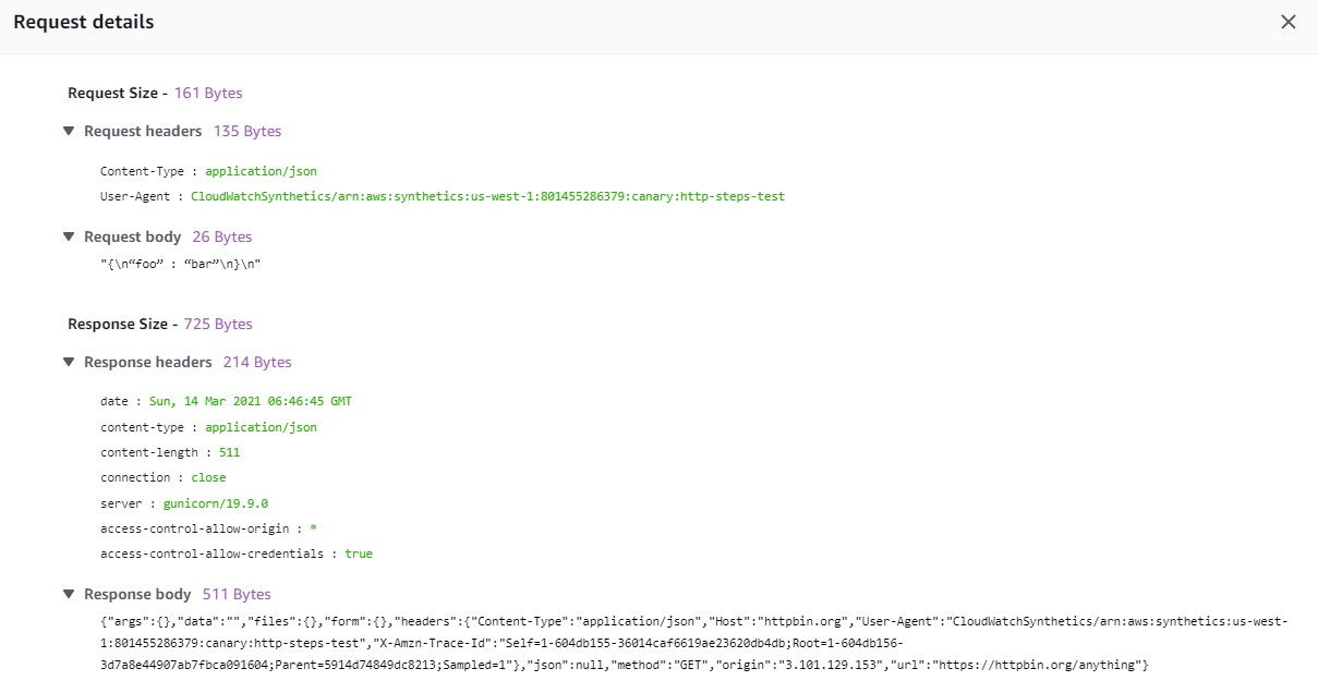 Request details shows the text output generated during the request and response..