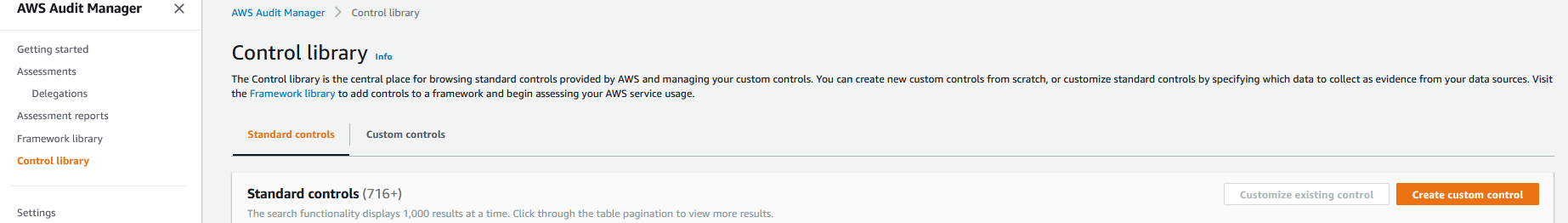 The Control library page has two tabs: Standard controls and Custom controls. It also has two buttons: Customize existing control and Create custom control.