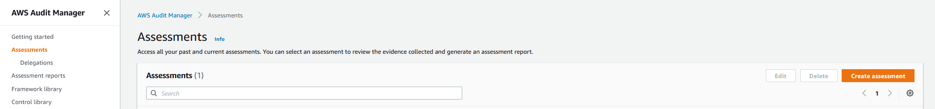 The Assessments page includes a search field you can use to access past and current assessments. It also includes Edit, Delete, and Create assessment buttons.
