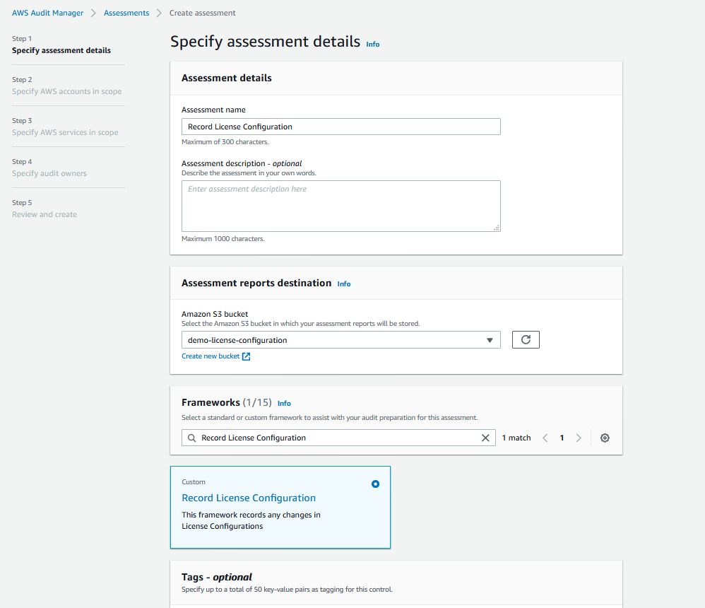 The Specify assessment details page provides fields for name and description. It also includes sections for Assessment reports destination, Frameworks, and Tags.