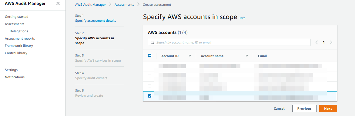 The Specify AWS accounts in scope page provides a table where AWS accounts are organized by account ID, account name, and email.