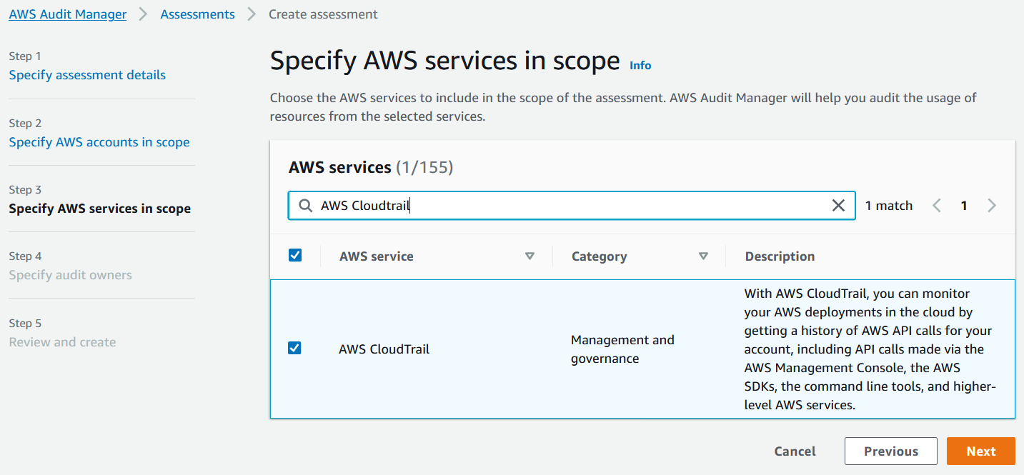 In the AWS services list, AWS CloudTrail is selected. Its category is Management and governance.