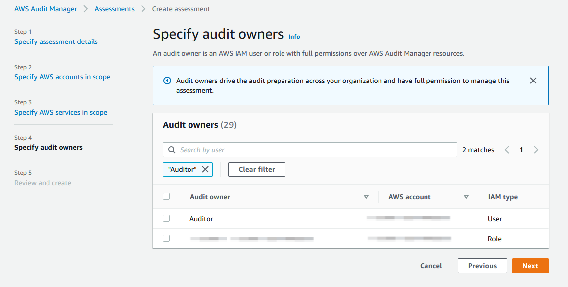 Use the Specify audit owners page to select an IAM user or role with permissions to access AWS Audit Manager resources.