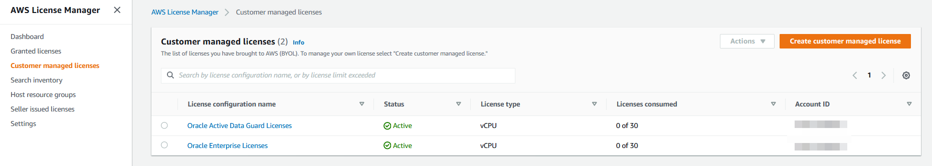Oracle Active Data Guard Licenses appears in the Customer managed licenses list. It has a status of Active. 0 of 30 licenses are consumed.