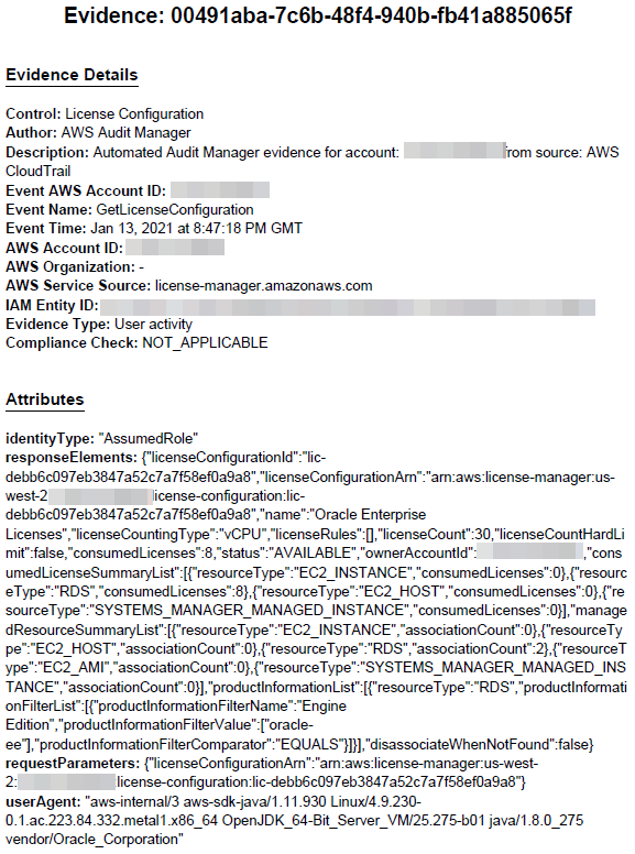 Evidence PDF file includes details like control (License Configuration), author, description, event AWS account ID, and event name (GetLicenseConfiguration). It also includes an Attributes section.