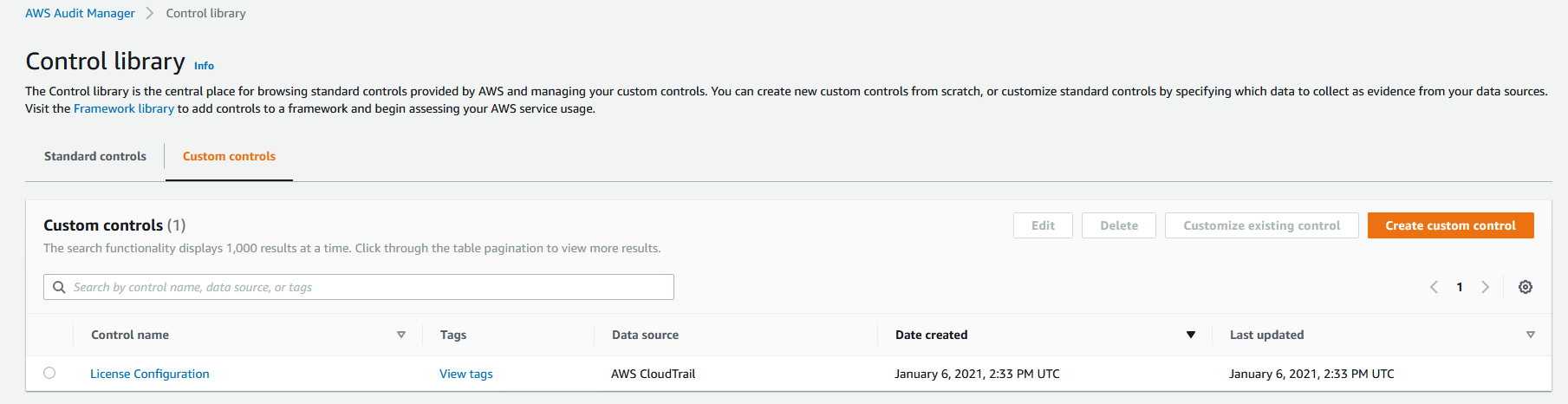 In Control library, under Custom controls, the License Configuration control is displayed. Its data source is AWS CloudTrail.