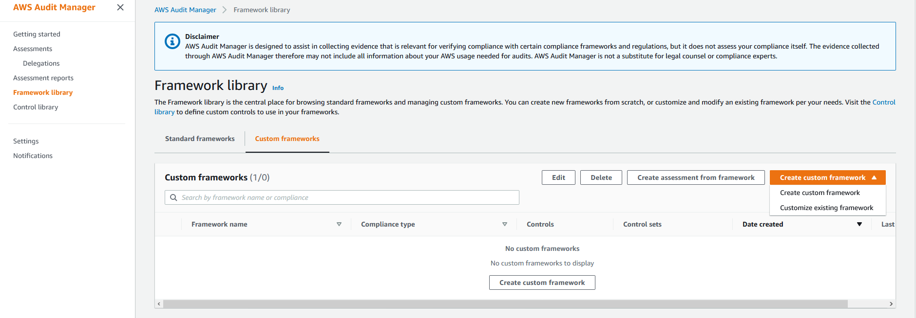 The Framework library page has tabs for Standard frameworks and Custom frameworks. The Create custom framework option is selected.