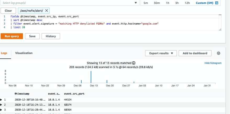 An example log insight query filtering requests to google.com