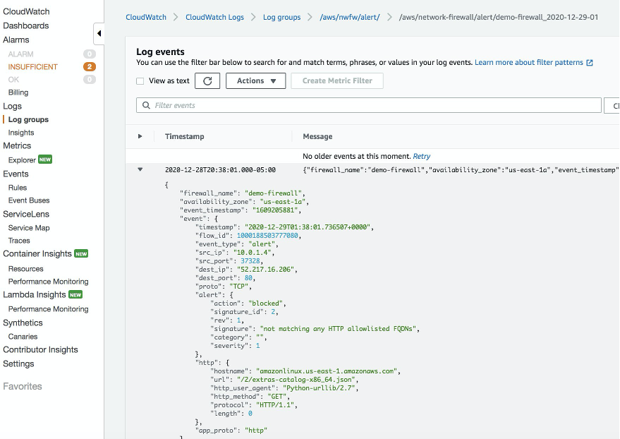 Sample JSON entry from log event of AWS Network Firewall alert logs.