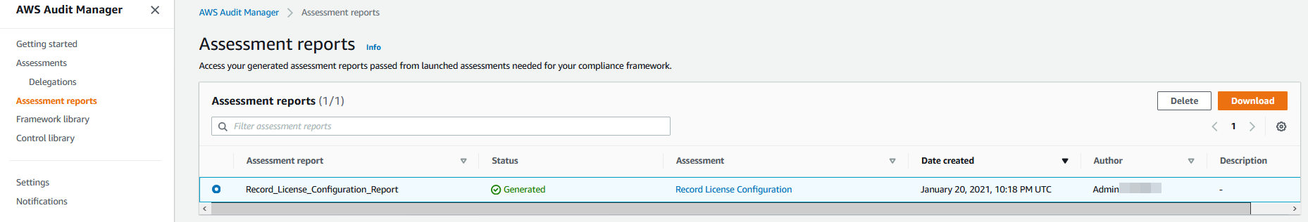 ALT TEXT: The Record_License_Configuration_Report is selected. It has a status of Generated.