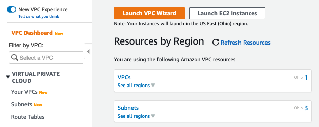 On Resources by Region, there are Launch VPC Wizard and Launch EC2 Instances buttons. There are also fields that display the VPCs and subnets you are using, including the Regions in which they are being used.