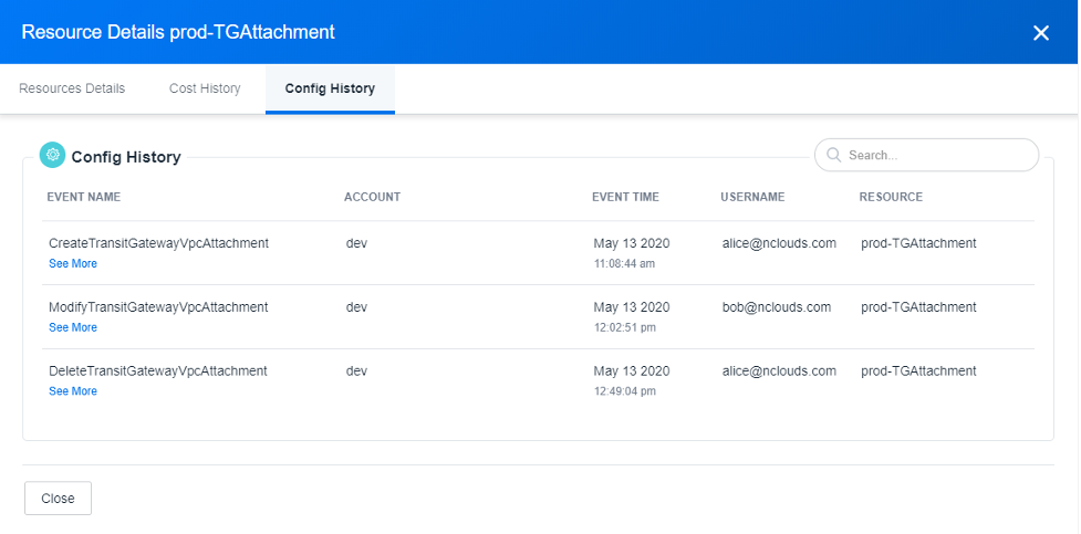 On the Config History tab, you can see event names, accounts (in this example, dev), event times, user names, and resources. nOps used CloudTrail events logs to tie these events to the cost impact. By using CloudTrail, nOps can show you when the events occurred and who took the actions.