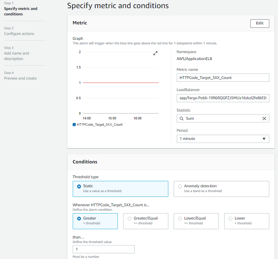 Specify metric and conditions page provides fields for you to specify metrics and the conditions under which the alarm should be triggered.