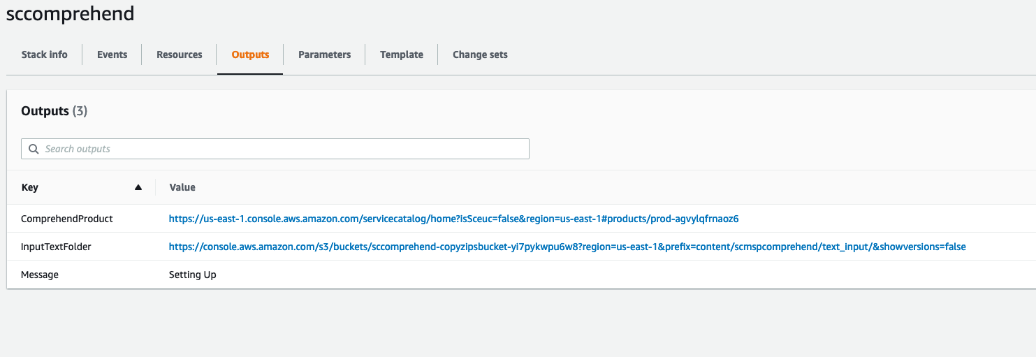 In the outputs tab on the CloudFormation console, choose the InputTextFolder, then upload your text files