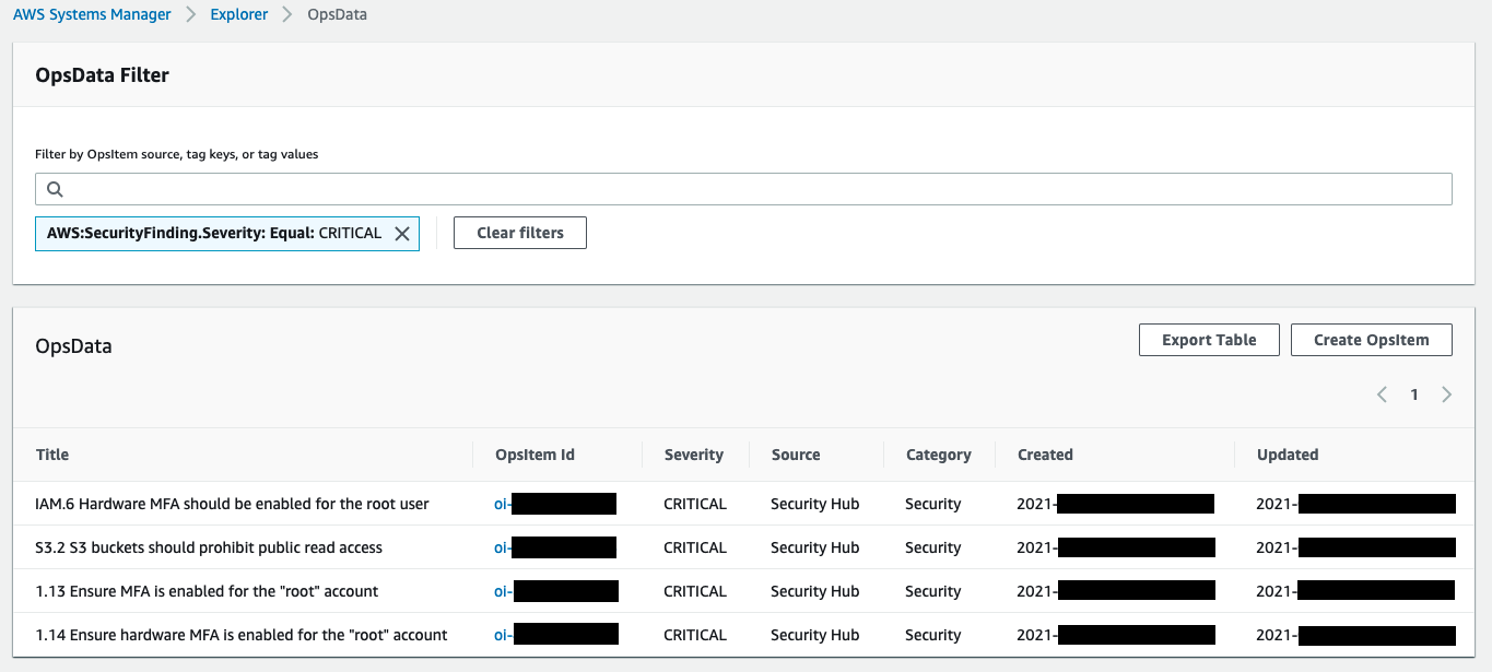 In OpsData Filter, there is a critical severity finding. Its title, EC2 9 EC2 instances should not have a public IPv4 address, is displayed along with the OpsItem ID, severity (high), source (Security Hub), category (Security), and created and updated times