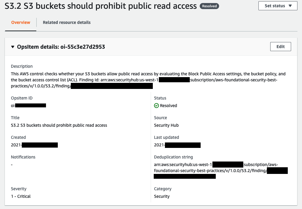 The OpsItem related to public S3 buckets is resolved.