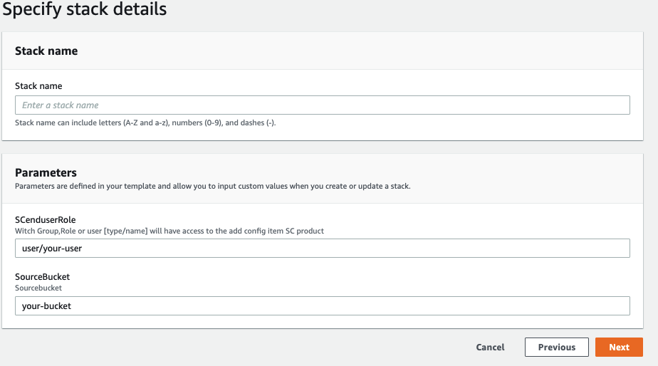 ALT: In the Parameters section of Specify stack details, SCenduserRole is user/kwscenduser. SourceBucket is kwdem0s.