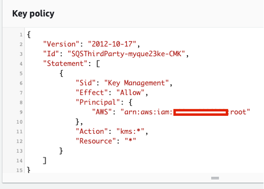 The key policy displays the policy before the end-user updates it. It contains only one access statement.