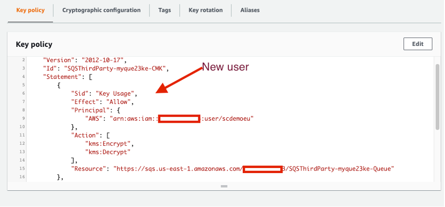 The policy has changed after the end-user added a second user. It now contains two access statements.