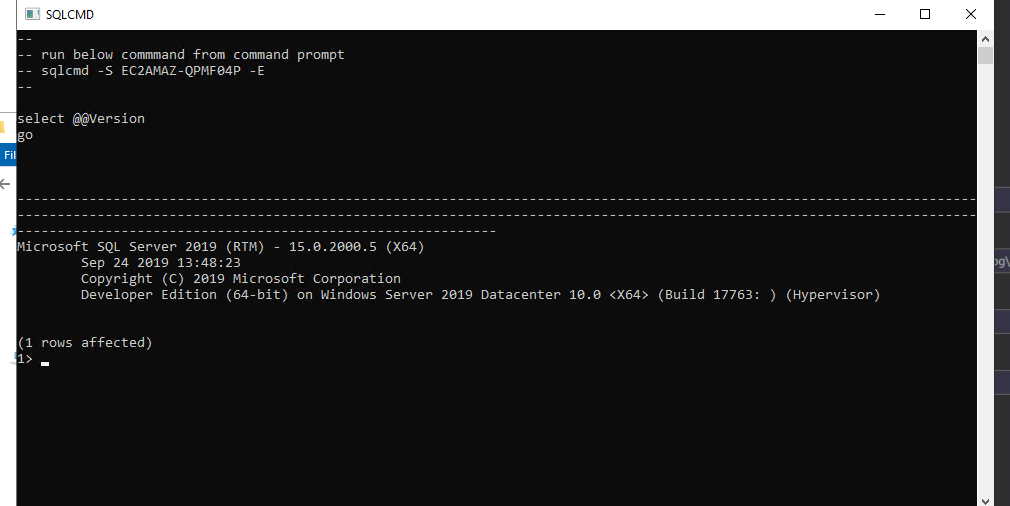 Run sqlcmd to connect to SQL Server. The command output shows Microsoft SQL Server 2019 Developer Edition (64-bit) on Windows Server 2019 Datacenter.
