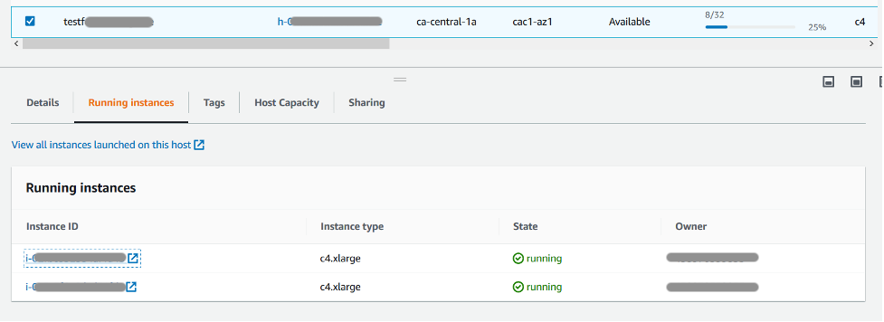 Console page displays tabs for Details, Running instances, Tags, Host Capacity, and Sharing. The Running instances tab is selected and displays two instances of type c4x.large.