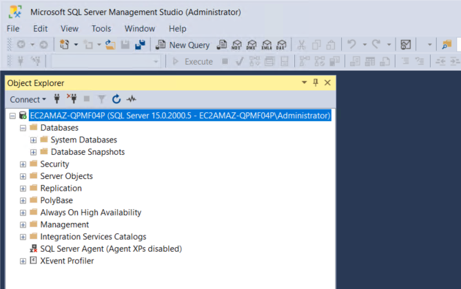 SQL Sever Management Studio displays an EC2 instance running SQL Server and folders underneath for Databases, Security, Server Objects, Replication, and more.