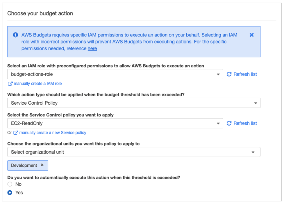 The Choose your budget action section contains fields completed as described in the body of the post.