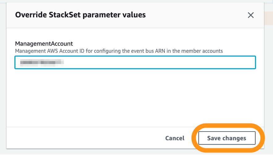 The Override StackSet parameters values page displays the management account ID for configuring the event bus ARN in the member accounts.