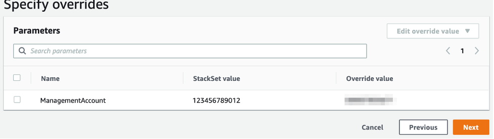The Specify overrides page lists the name (ManagementAccount), StackSet value, and override value.