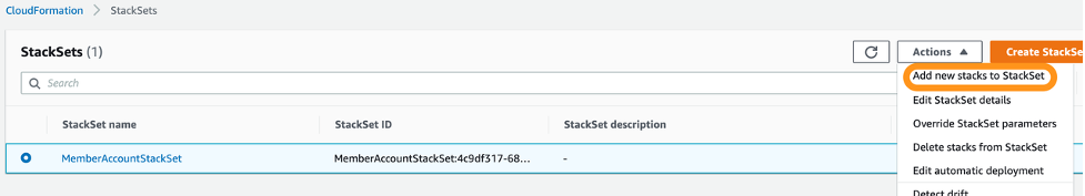 StackSets page includes an Actions dropdown. Add new stacks to StackSet is highlighted