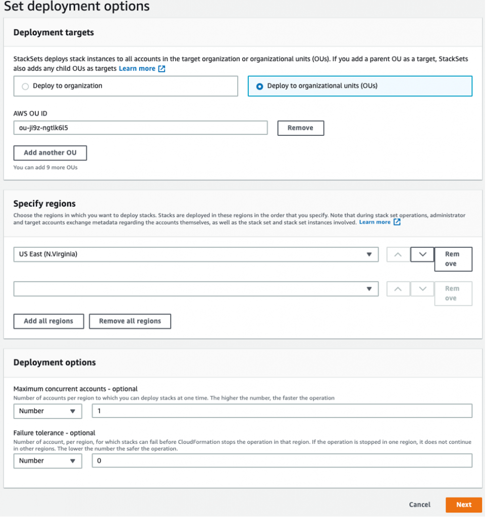 Set deployment options page includes sections for deployment targets, regions, and deployment options.