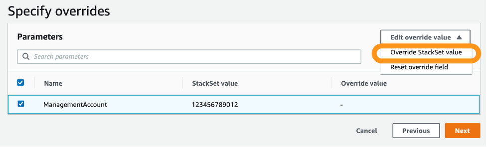 On the Specify overrides page, there is a table with columns for name, StackSet value, and override value. The Override StackSet value is selected from the Edit override value menu.