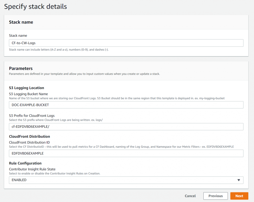 Specify stack details displays a field or the stack name and a Parameters section with fields for S3 logging location, CloudFront distribution, and rule configuration.