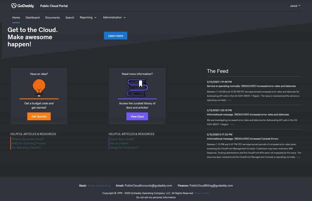 GoDaddy Portal Splash Screen