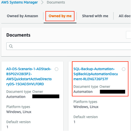 The newly created Automation runbook is displayed in the AWS Systems Manager console on the Owned by me tab.