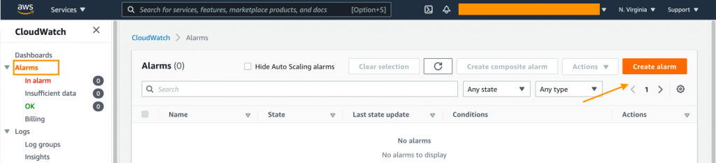The Alarms page in the CloudWatch console displays columns for alarm name, state, last state update, conditions, and actions. In this example, there are no alarms to display.