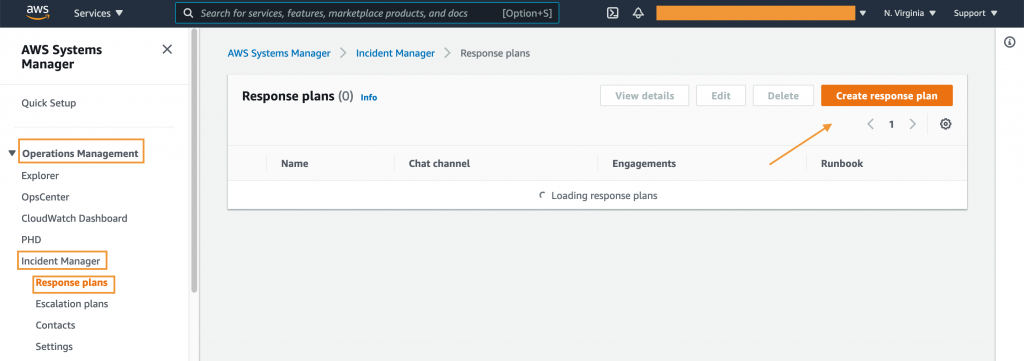 Response plans displays View details, Edit, Delete, and Create response plan buttons. It also includes a table (in this example, empty) with columns for name, chat channel, engagements, and runbook.