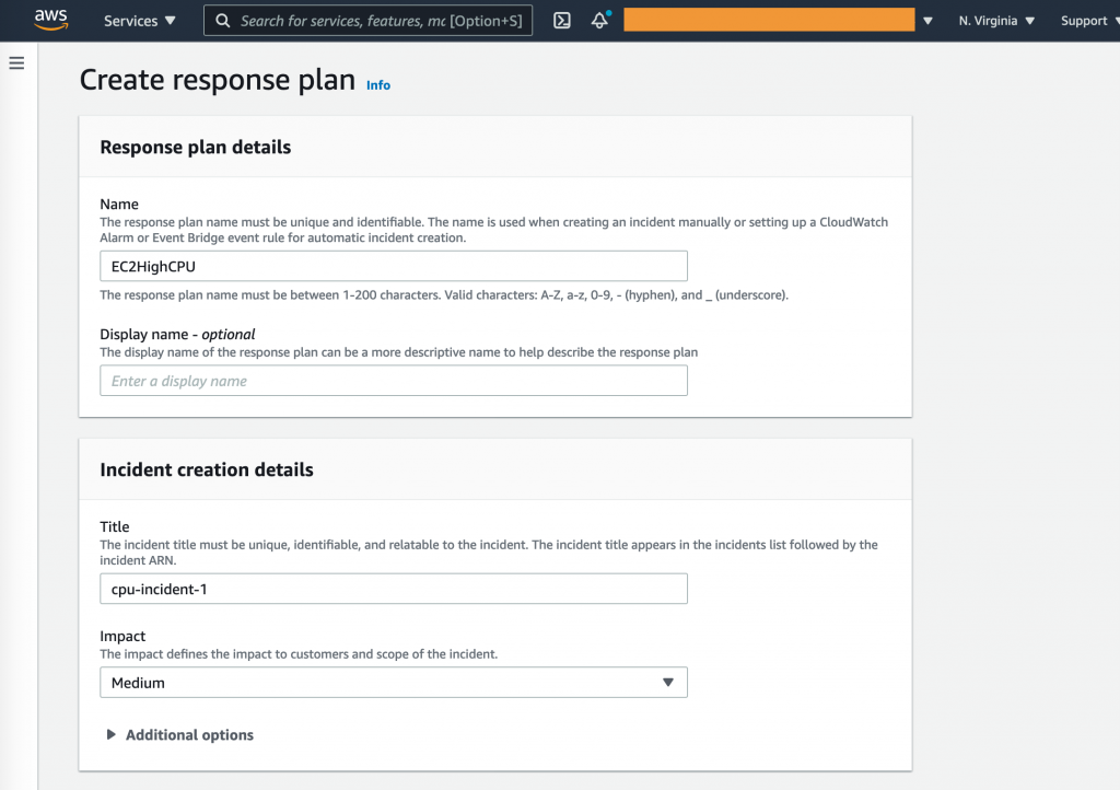 Create response plan shows fields completed with values used in the procedure.