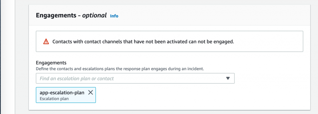 On Engagements, the app-escalation-plan is displayed.