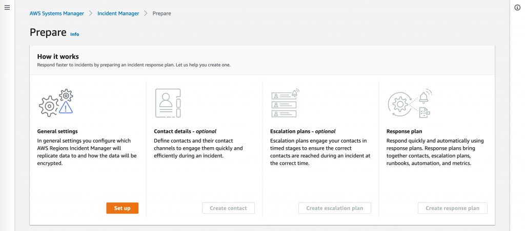 Under How it works, there are steps for configuring general settings, defining contacts and contact channels, creating an escalation plan, and combining contacts, escalation plans, runbooks, automation, and metrics into a response plan.