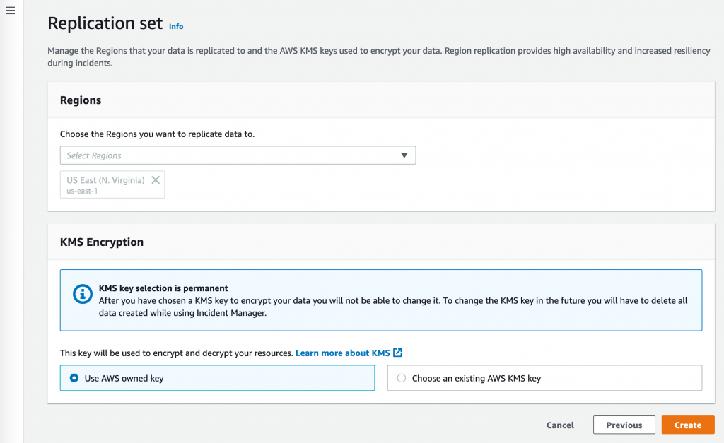"""Under Region, """"us-east-1"""" is selected. Under KMS Encryption, select """"Use AWS owned key""""."""